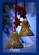 Snow Posters Digital Art Posters - Golden Bells Holiday Card Blue Trim Poster by Thomas Woolworth