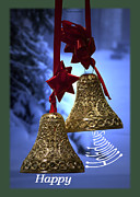 Snow Posters Digital Art Posters - Golden Bells Holiday Card Green Trim Poster by Thomas Woolworth