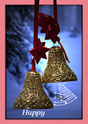 Snow Posters Digital Art Posters - Golden Bells Holiday Card Pink Trim Poster by Thomas Woolworth