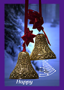 Snow Posters Digital Art Posters - Golden Bells Holiday Card Purple Trim Poster by Thomas Woolworth
