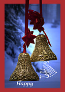 Snow Posters Digital Art Posters - Golden Bells Holiday Card Red Trim Poster by Thomas Woolworth