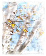 Landscapes Digital Art Metal Prints - Golden Birch Metal Print by Caitlyn  Grasso