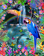 Paradise Digital Art - Golden Bluebirds Paradise Version 2 by Alixandra Mullins