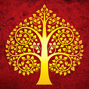 Golden Bodhi Tree No.1 Print by Bobbi Freelance