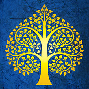 Bodhi Tree Art - Golden bodhi tree No.2 by Bobbi Freelance