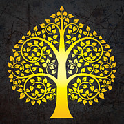 Golden Digital Art - Golden bodhi tree No.3 by Bobbi Freelance