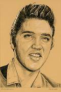 Singer Drawings - Golden Boy Elvis by Rob De Vries