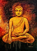Tibet Painting Prints - Golden Buddha 2 Print by Shijun Munns