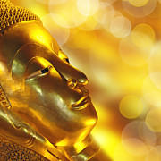 Budhism Prints - Golden Buddha Print by Delphimages Photo Creations