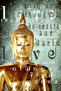 Lithograph Digital Art Framed Prints - Golden Buddha Message Framed Print by M Gilmore