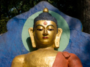 Siddharta Metal Prints - Golden Buddha Metal Print by Nila Newsom