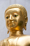 Statue Portrait Photos - Golden Buddha Statue by Antony McAulay