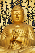 World Peace Art - Golden Buddha Statue at the World Peace Pagoda Pokhara by Robert Preston