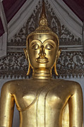 Statue Portrait Photos - Golden Buddha Temple Statue by Antony McAulay