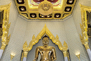 Historic Statue Posters - Golden Buddha Wat Traimit Poster by Paul W Sharpe Aka Wizard of Wonders