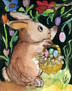Easter Eggs Paintings - Golden Bunny  by Sylvia Pimental