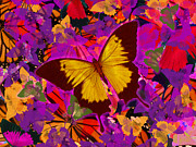 Golden Butterfly Painting Print by Alixandra Mullins