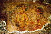 Ceylon Prints - Golden Cave Painting in Sigiriya Print by Jenny Rainbow