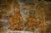 Ceylon Prints - Golden Cave Painting in Sigiriya. Sri Lanka Print by Jenny Rainbow
