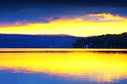 Yellow Bridge Digital Art Posters - Golden Cayuga Lake Ithaca New York Poster by Paul Ge