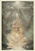 Most Digital Art Posters - Golden Christmas Tree Poster by Kristie  Bonnewell