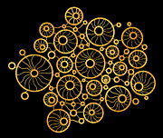 Gold Drawings Prints - Golden Circles Black Print by Frank Tschakert