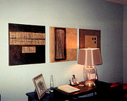 Installation Art Prints - Golden Coin Triptych Installation Print by Marlene Burns