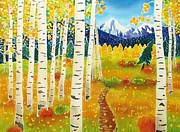 Batik Painting Posters - Golden Colorado Day Poster by Harriet Peck Taylor