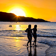 Latina Art - Golden Costa Rican Sunset - Tropical Beach by Mark E Tisdale