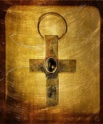 Jewel Digital Art Prints - Golden cross Print by Gun Legler