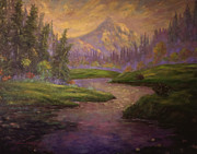 Glenna Mcrae Prints - Golden Dawn at Mt. Hood Print by Glenna McRae