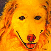 Doggie Art Posters - Golden Poster by Debi Pople