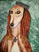 Jewelry Greeting Cards Posters - Golden Dog Poster by Jasna Gopic
