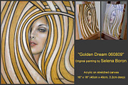 Abstract Composition Paintings - Golden Dream 060809 Comp by Selena Boron