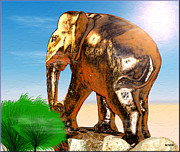 Elephants Digital Art Originals - Golden Elephant by Daniel Janda