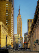 Empire State Building Digital Art Metal Prints - Golden Empire Metal Print by Douglas J Fisher
