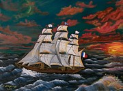 Wooden Ship Painting Prints - Golden Era of Sail Print by Sharon Duguay
