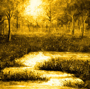Wood Paintings - Golden Evening by Ann Marie Bone