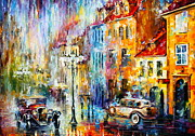 Old Automobile Posters - Golden evening Poster by Leonid Afremov