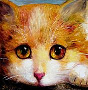 Kitty Mixed Media Framed Prints - Golden Eye Framed Print by Shijun Munns