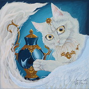 Furry Felines Painting Prints - Golden Eyed Angel Bast Cat  Print by Jennifer  Anne Esposito
