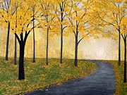 Fall Scenes Paintings - Golden Fall by Herb Dickinson