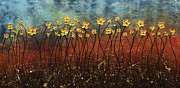Poster Prints Prints - Golden Flowers Print by Carmen Guedez