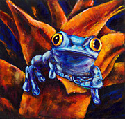 Abstract Wildlife Paintings - Golden Frog by Paulene Edwards