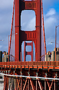Famous Bridge Posters - Golden Gate Poster by Adam Romanowicz