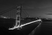 Golden Gate Pyrography Posters - Golden Gate at night Black and White Poster by David Rasmussen