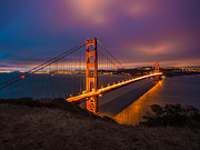Mike Lee Metal Prints - Golden Gate at Twilight Metal Print by Mike Lee