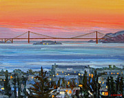 Alcatraz Paintings - Golden Gate at Twilight by Robert Gerdes
