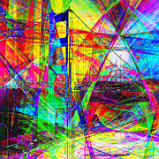 Cityscape Digital Art - Golden Gate Bridge Abstract 7D14516 square by Wingsdomain Art and Photography