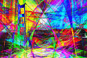 San Francisco Landmarks Digital Art Metal Prints - Golden Gate Bridge Abstract 7D14516 Metal Print by Wingsdomain Art and Photography